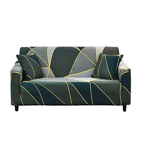 HOTNIU Stretch Sofa Cover Printed Couch Covers Loveseat Slipcovers for 2 Cushion Couches Sofas Elastic Universal Furniture Protector with One Free Pillowcase (Medium, Deep Green Geometry)
