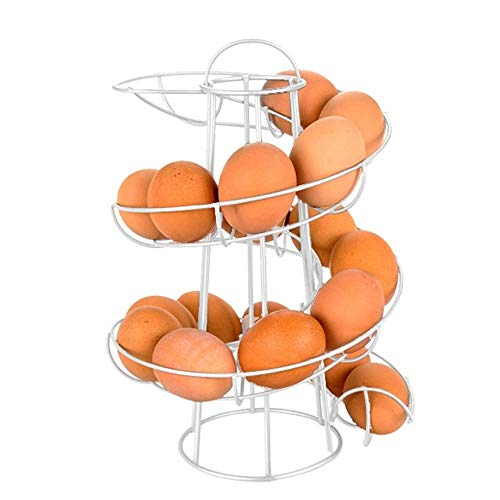 Hovico Egg Skelter Spiral Design Metal Egg Skelter Dispenser Rack,Storage Display Rack (White)