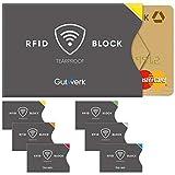 TÜV geprüfte RFID Schutzhülle Kreditkarten reißfest [6 St.] 100% RFID NFC Schutz für Kreditkarten, EC Karten Hülle | NFC Schutzhülle Kreditkarte | RFID Blocker | Kreditkartenhülle abgeschirmt