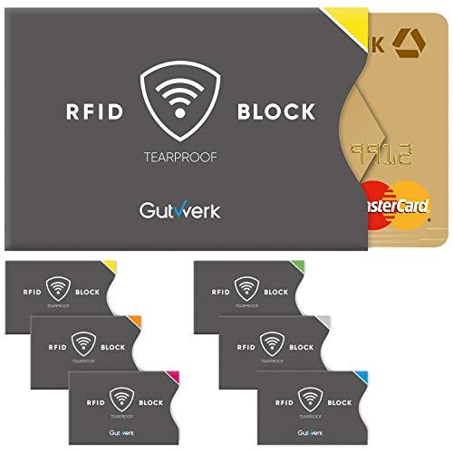 TÜV geprüfte RFID Schutzhülle Kreditkarten reißfest [6 St.] 100{c945d24059299b4a83f4dab3e5c446e68d243326b2120c19235dba6065adda46} RFID NFC Schutz für Kreditkarten, EC Karten Hülle | NFC Schutzhülle Kreditkarte | RFID Blocker | Kreditkartenhülle abgeschirmt