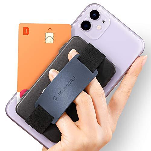 Sinjimoru Handy Kartenhalter, 3in1 Slim Wallet & Handy Halter mit Ständer, Handy Fingerhalter, Fingerhalterung Handy für iPhone und Android, Sinji Card Zip Band Grip. (Schwarz mit Band Navy)