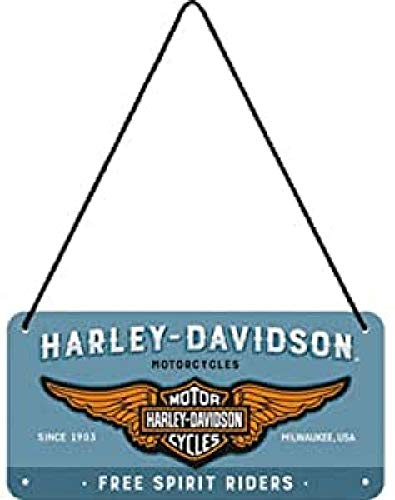Nostalgic-Art Cartel Colgante Retro Harley-Davidson – Logo Blue – Idea de Regalo para Motociclistas, metálico, Diseño Vintage, 10 x 20 cm