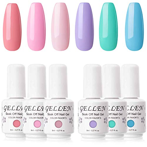 Gellen Gel Nail Polish Set - 6 Colors Rainbow Sky Series Pigmented Vivid Shade, Popular Colorful UV LED Nail Art Home Gel Manicure Kit