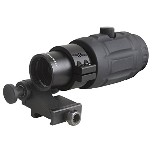 Vector Optics Tactical 4X Magnifier Scope with Quick Flip to Side FTS Mount 36mm Co Witness Height for 30mm Red Dot Sights