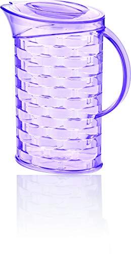 BAGER 3er Set(lila, gelb & pink) Krug Karaffe Kanne mit Deckel Kunststoff Transparent 2 Liter