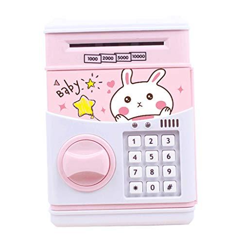 perfk Caja de Ahorro de Contraseña Efectivo Hucha Moneda Caja de Ahorro de Dinero Regalo de Cumpleaños Juguetes para Niños - Conejo Rosa