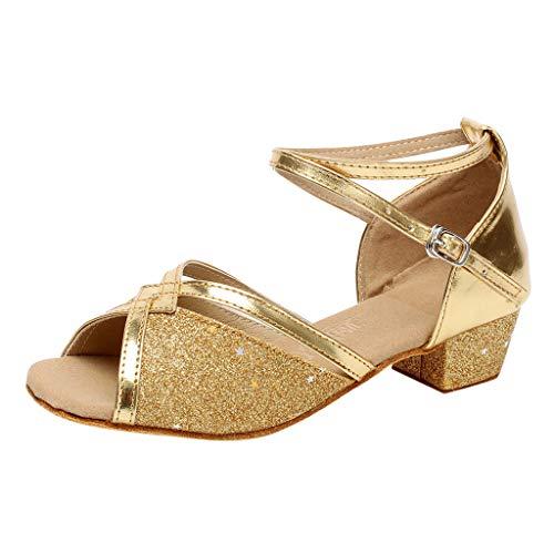 Sandales Danse Fille Chaussure à Talon Bout Ouvert Enfant Tango Latin Cha-Cha Soirée Unique Chaussures de Pratique Chaussures de Princesse 4-15ans BaZhaHei(33,Or)