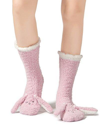 Leotruny Women's Winter Cute Animal Ankle Slipper Fuzzy Socks (Rabbit-pink)