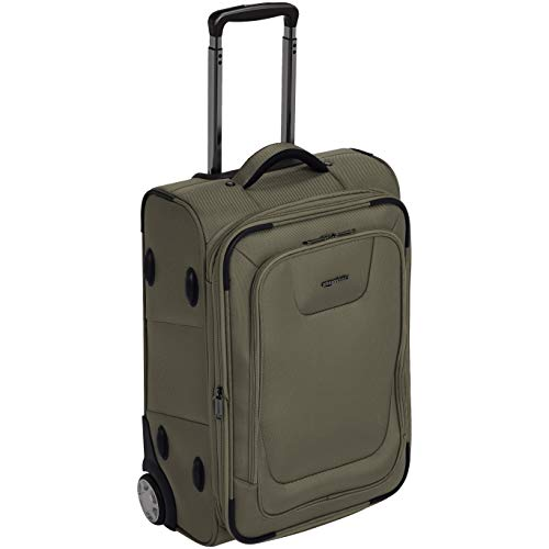 AmazonBasics Expandable Softside Carry-On Luggage Suitcase With TSA Lock And Wheels - 24 Inch, Olive