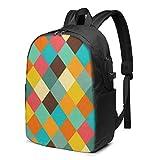 BGDFN Unisex niños 17 ''mochila USB retro vector multiusos Daypacks elegante mochila para la escuela