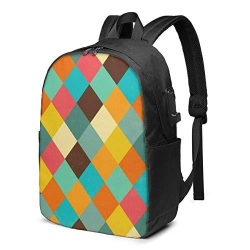 "BGDFN Unisex niños 17 """"mochila USB retro vector multiusos Daypacks elegante mochila para la escuela"