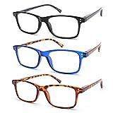 vecien 3 paia occhiali da lettura, cerniera a molla/lente ultra trasparente,presbiopia uomo donna montatura rettangolare (+2.00)