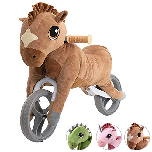 Yvolution My Buddy Wheels Dino Unicorn Horse Balance Bike with Plush Toy | Training Bicycle for Toddlers Age 2 Years + (Dino)