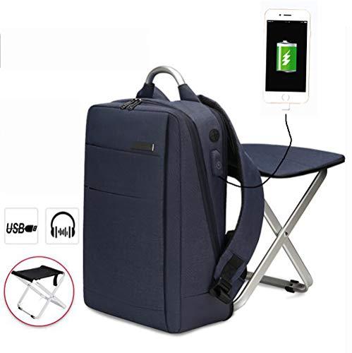 Yajun Rucksack Stuhl Klappstuhl Angelrucksack Wandersitz USB Daypack wasserdichte Tragbare Multifunktionstasche Einfache Und Elegante Doppelte Umhängetaschen,Blue
