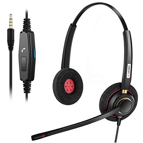 PC Headset, 3.5mm Handy Headset mit mikrofon für Laptop, PC Kopfhörer mit Mikrofon für Smartphone Skype Home Office Call Center Business Chat, Lautstärkeregler, Super Komfort
