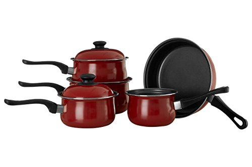 Premier Housewares - Batería de cocina antiadherente de 5 piezas, color rojo de acero de carbono