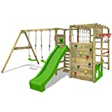 FATMOOSE Wooden climbing frame ActionArena XXL with swing set and green slide, Outdoor playground for kids with monkey bars, climbing wall & play-accessories