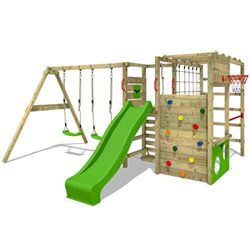 FATMOOSE Klettergerüst Spielturm ActionArena mit Schaukel & apfelgrüner Rutsche, Gartenspielgerät mit Leiter & Spiel-Zubehör