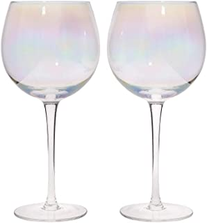 BarCraft Balloon Gin Glasses, Rainbow-Pearl Iridescent, 500 ml, Set of 2, Gift Boxed