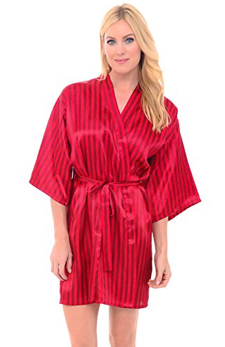 Alexander Del Rossa Womens Satin Robe, Mid-Length Dressing Gown, Large Red Striped (A0747R19LG)