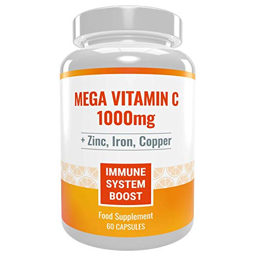 Mega Vitamin C 1000mg Plus Zinc, Iron and Copper. Powerful Immune System Boost. Sugar-Free, Gluten-Free. 60 Capsules - 1 Month Supply.