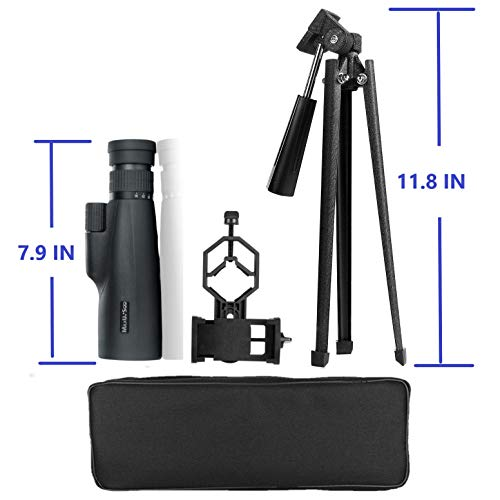 MaxUSee High Power 10-30x50 Zoom HD Monocular Telescope with Stable Tripod Carrying Bag Phone Adapter BAK4 Prism FMC Lens for Travel Hiking Bird Watching Wildlife Sightseeing Sports Concerts