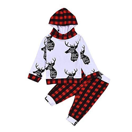 JiaMeng 0-24 Monate Madchen Jungen Weihnachten Kapuze Sweatshirt Lange Ärmel Rentier Drucken Sweatshirt und Gitter Lange Hosen Anzug