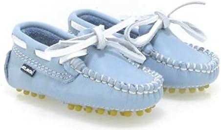 Atlanta Mocassin White LACE Baby Loafer in Sky Blue