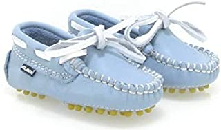 White Lace Baby Loafer in Sky Blue
