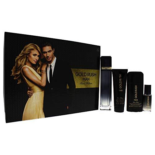 Set Gold Rush Man 4 pzs 100 ml Spray + Body Whas 90 ml + Desodorante 78G + 15 ml Spray de Paris Hilton