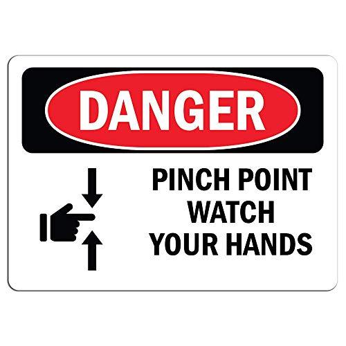Señal de peligro – Pinch Point Watch Your Hands calcomanías de advertencia calcomanía de advertencia para la decoración de la casa ventana coche advertencia de peligro seguridad señal etiqueta calcomanía 8 x 12 pulgadas