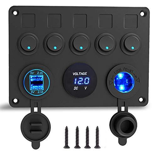 12V/24V Marina Panel de Interruptores, Puerto del cargador USB 4.2A + Encendedores + Pantalla...