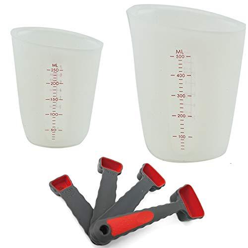 Tangger 2 PCS Messbecher Silikon 250ml und 500ml,4 PCS Silikon Messlöffel für Küche Kochen Backen