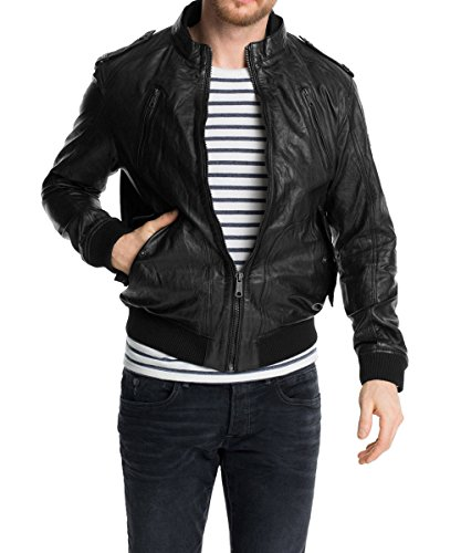 edc by ESPRIT Herren Lederjacke Regular Fit, Gr. Small, Schwarz (BLACK 001)