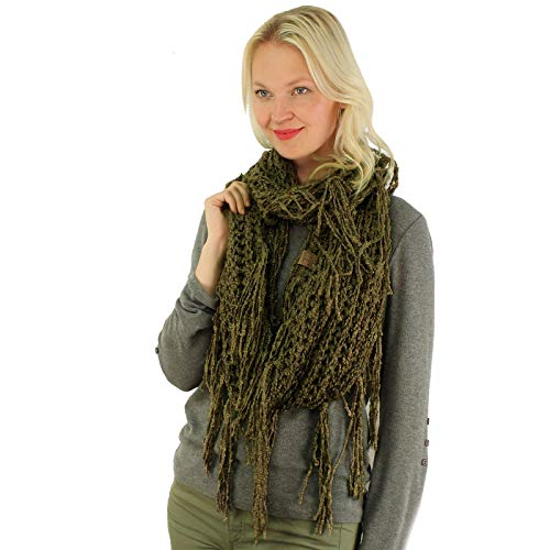 CC BEANIE Winter Soft Chenille Net Tassle Fringe Thick Knit Infinity Scarf Wrap New Olive