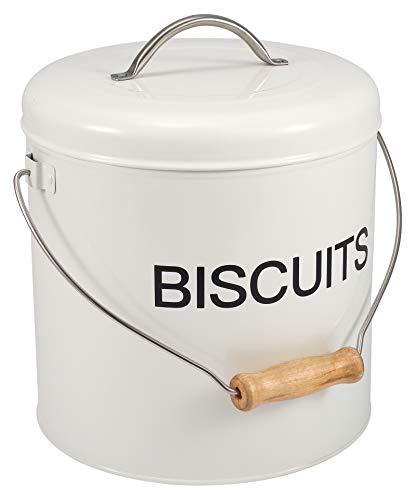 Home Basics - Bote de lata para galletas, estilo retro, hermético, de metal, con asa, para almacenar galletas o caramelos, color blanco