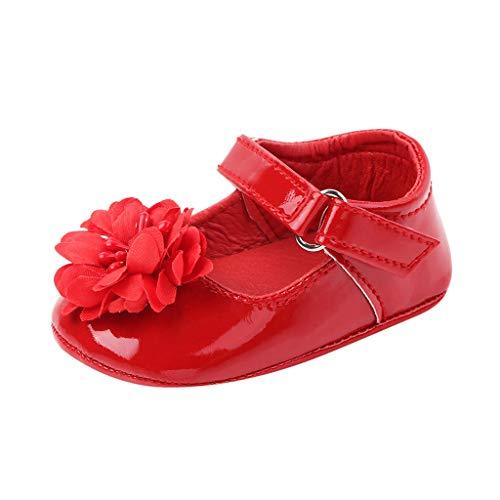 FNKDOR Schuhe Neugeborene Baby Mädchen Lauflernschuhe Rot 0-3 Monate Mit Blume Bequem rutschfest Mary Jane Babyschuhe