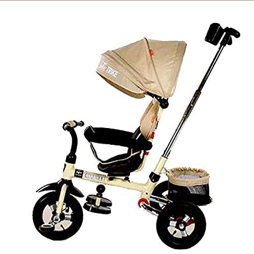 Triciclo Evolutivo Toral Bicicleta de triciclo para bebés, triciclo para niños 4 en 1 por 6 meses a 5 años de rotación del asiento cubierta de lluvia bebé 3 ruedas empuje triciclos Peso máximo 30 (col