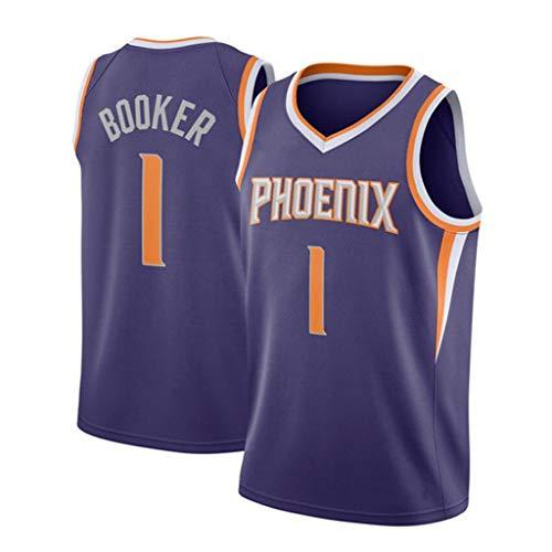 XYHS Devin Booker Basketball Trikot 1# Phoenix Suns Weicher und bequemer Sommer Cooler atmungsaktiver Stick-Trainingsanzug-XL