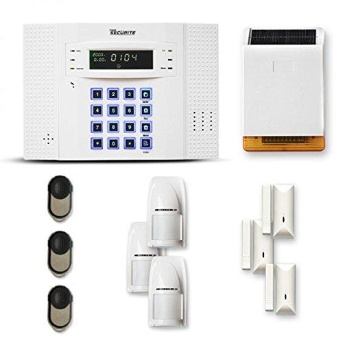 Alarme Maison sans Fil DNB 3 à 4 pièces Mouvement + Intrusion + sirène extérieure Solaire - Compatible Box Internet et GSM