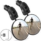 Goldmiky Espejo de bicicleta, 360° Adjustable Espejo Retrovisor de bicicleta para Manillar, HD Gran Angular, Fuerte y robusto, para Carretera Montaña/Bicicleta Plegables/Urbanas (2 piezas)