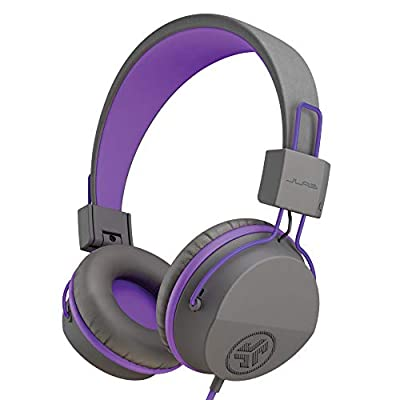 JLab Audio Kids Headphones, JBuddies Headphones for Kids, Over Ear, Wired and Kid Safe with Volume Limiter, Noise Isolation and Mic – Grey/Purple from JLAB