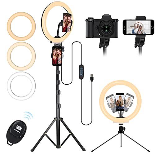 "Aro de Luz Selfie Trípode, MICCYE 10.2"" Anillo de Luz Trípode LED 3 Modos de Luces 10 Brillos Regulable para Móvil Selfie, Fotografía, Maquillaje, Youtube, TIK Tok Live"