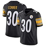 James Conner Pittsburgh Steelers #30 Maillot de Football américain, Fan de Maillot de Rugby brodé Logo Design Team Sportswear Manches Courtes Unisexe-Black-S(170~175CM)