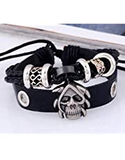 Black leather bracelet with skull design for men