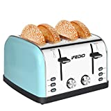 Toaster 4 Slice Toaster 1.5-inch Extra Wide Slot Toasters Best Rated Prime Stainless Steel Four Slice Bread Bagel Toaster 7-Shade Setting Defrost/Reheat/Cancel Function, Removable Crumb Tray 1500W