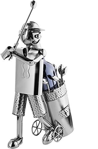 Brubaker Flaschenhalter Golfspieler beim Abschlag Metall Skulptur Geschenk mit Geschenkkarte - 2