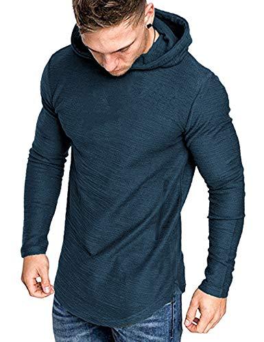 COOFANDY Sudadera con capucha para hombre, de manga larga, básica, para el tiempo libre, gimnasio, deporte, para hombre azul marino S