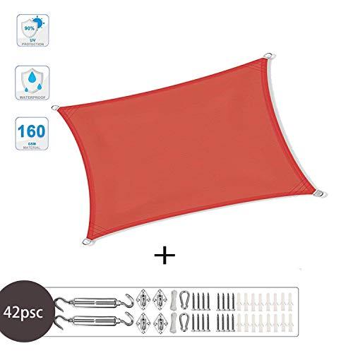 XXJF Shade Sail Canopy Keepcool95%uvblockwaterresistantwaterproof Sun Shade Sail Curvededgewovenpolyester Forpatiogardenbackyardpergola (Color : Orange red, Size : 3.5x5.5m)