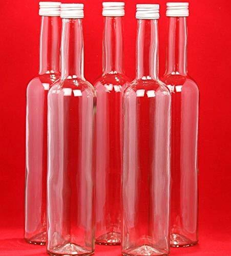 casa-vetro 24 Leere Glasflaschen 350 ml BOR kleine Flaschen Saftflaschen Likörflaschen Weinflasche Flaschen mit Schraubverschluss 0,35 Liter l (24 x 350ml, weiß)